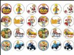 24 x Bob The Builder  Rice Wafer Paper Cake Bun Toppers